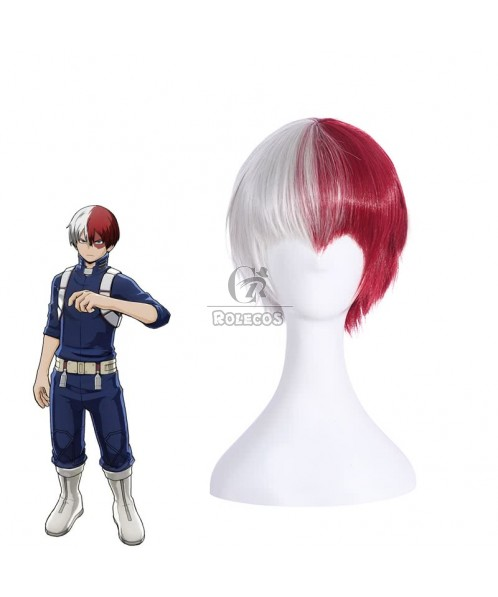 BNHA MHA Shōto Todoroki Anime Cosplay Wigs White Mix Red Wigs