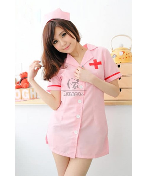 Hot Sexy Pink Short Sleeve Uniform Temptation Nurse Cosplay Costume