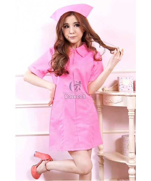 Uniform Temptation Hot Sexy Pink and White Nurse Cosplay Costume