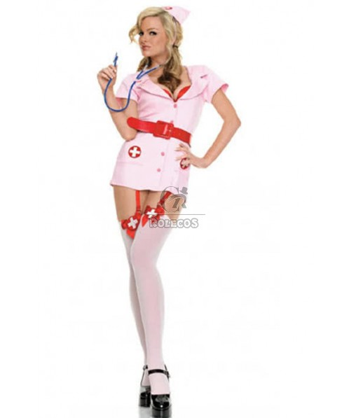 Hot Sexy Pink Nurse Dress Uniform Temptation Cosplay Costume