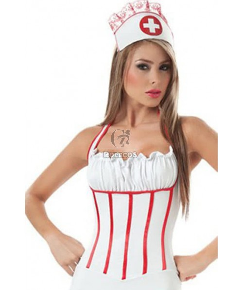 Hot Sexy Mixed White and Red Nurse Backless Dress Uniform Temptation Cosplay Costume