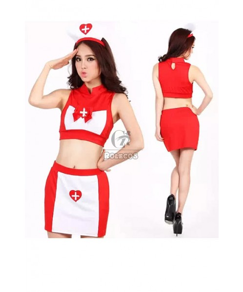 Hot Sexy Mixed White and Red Nurses Dress Uniform Temptation Cosplay Costume