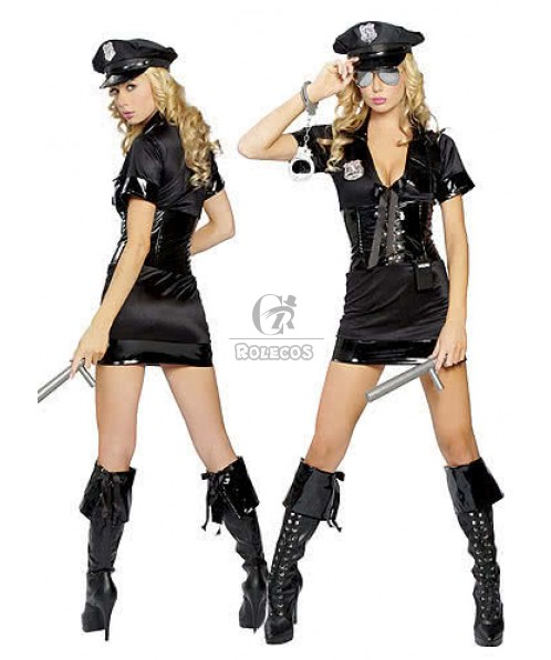 New arrival Sexy Black Police Officer Costume fancy tight dress with Toy handcuffs