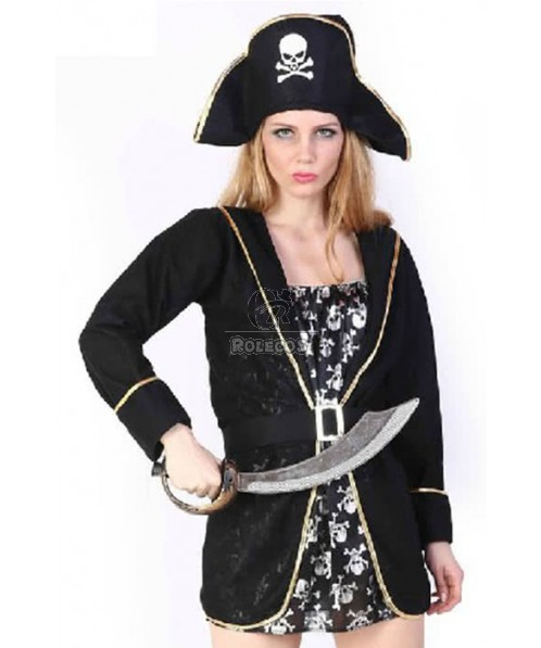 Black Hat With Skull Pirate Of The Caribbean Cosplay Costume Cool
