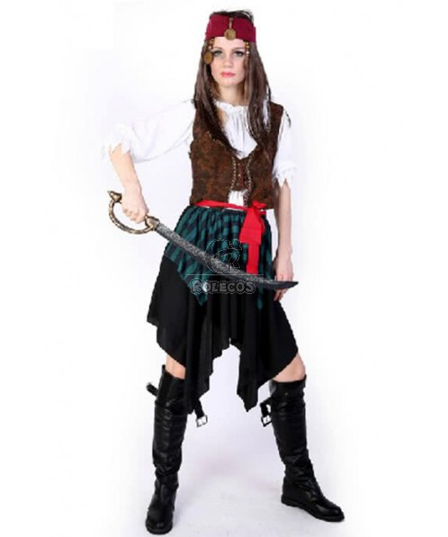 Popular Series Pirate Of The Caribbean Red Belt Brown Jacket Cosplay Costume