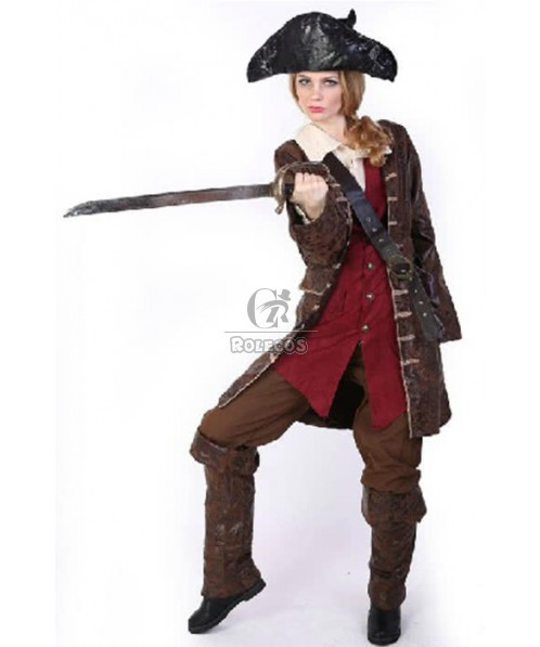 Cool And Handsome Cosplay Costume Pirate Of The Caribbean Six Piece Suit For Woman