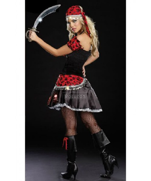 Masquerade Woman Pirate Of The Caribbean Red And Black Dress Charming