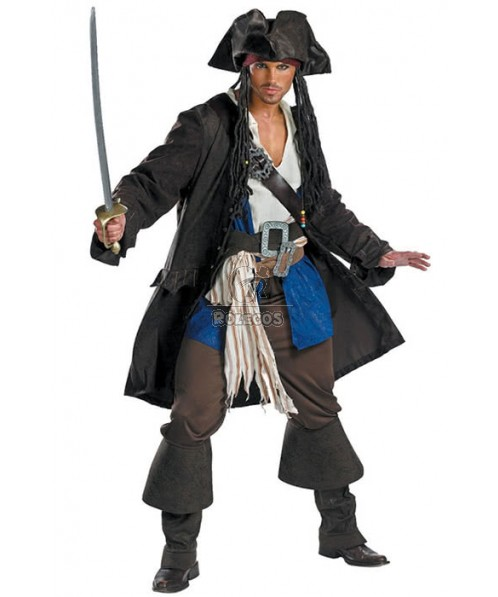 Cool Hot Pirate Of The Caribbean Costume Captain Jack Sparrow Suit