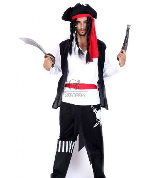 New Arrival White And Black Suit Pirate Of The Caribbean Halloween Cosplay Costume
