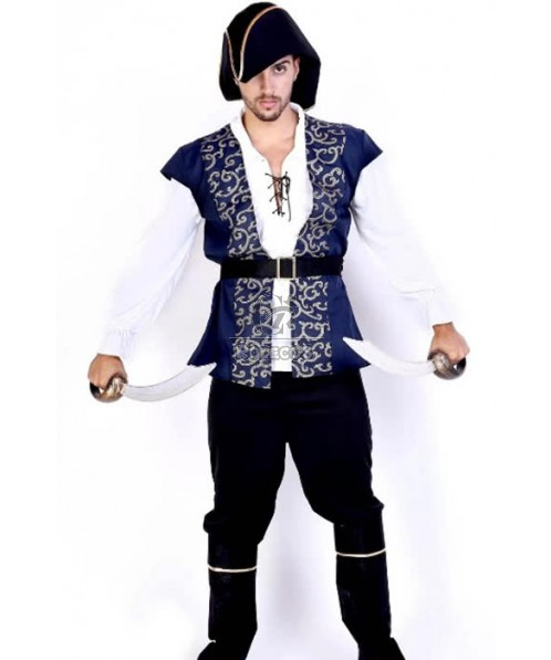 Blue Coat Black Pants Suit Pirate Of The Caribbean Cosplay Costume