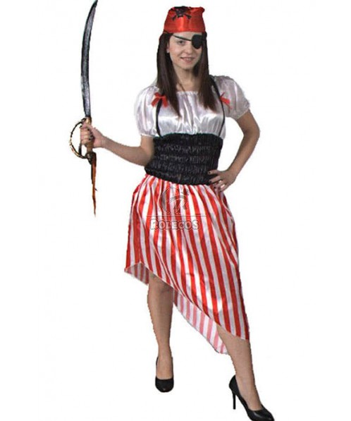 Red Kerchief Female Adult Pirate Of The Caribbean Halloween Costume