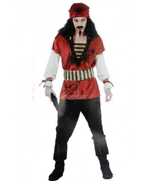 Masquerade Captain Jack Sparrow Pirate Of The Caribbean Red Cosplay Costume