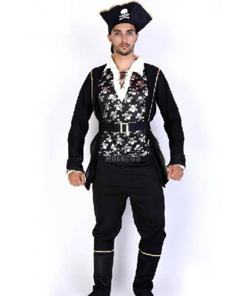 Hot Sale Black Suit Pirate Of The Caribbean Halloween Cosplay Costume