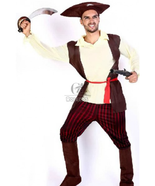 Halloween Cosplay Costume Brown Hat Red Belt Pirate Of The Caribbean