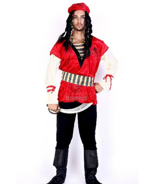 Pirate Of The Caribbean Red Kerchief Suit Cosplay Costume