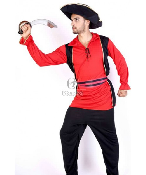 Pirate Of The Caribbean Black Hat Red Shirt Halloween Costume