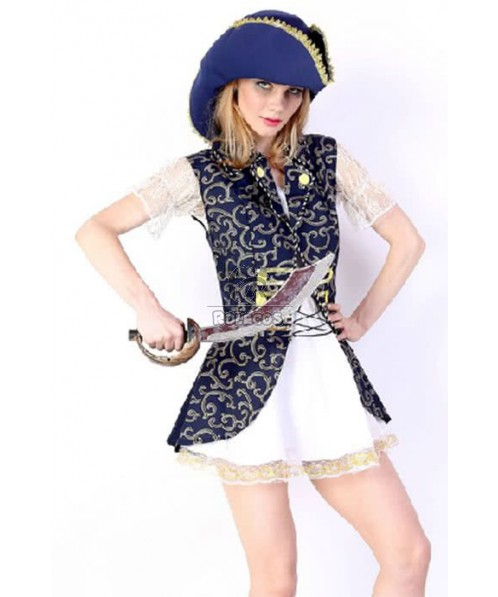 Pirate Of The Caribbean White And Blue Cosplay Costume Comforable