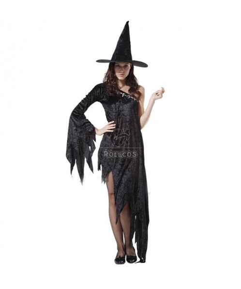 New Halloween black witch costume fancy dress with tassels design