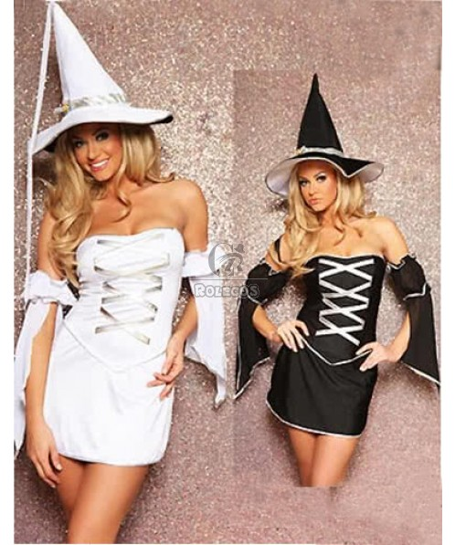 Fancy witch Halloween Costume two colors classic female Dress