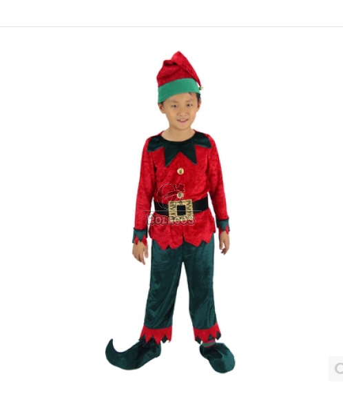 Red and Green Children Christmas Costume Double-Color Elf  Suit