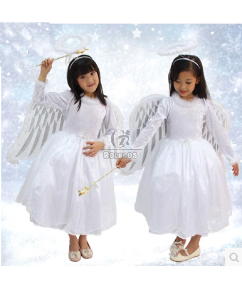 White Angel Princess Children Christmas Costume with Wings