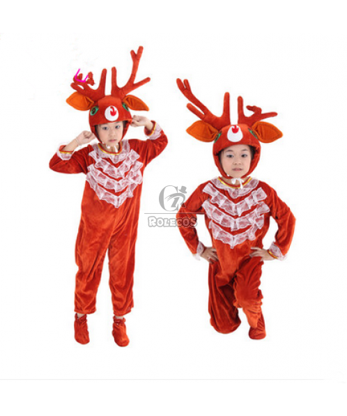 New Style Brown Children Christmas Costume of Cartoon Modelling of Reindeer Animal Suit