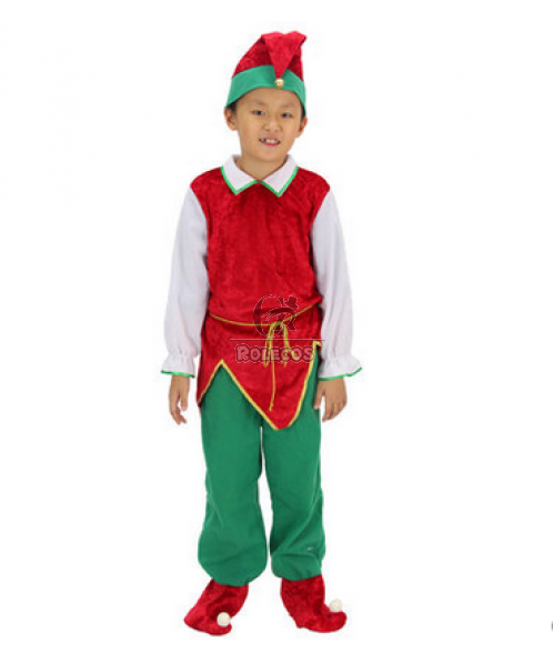 Red and Green Boy Christmas Costume with Gold Belt