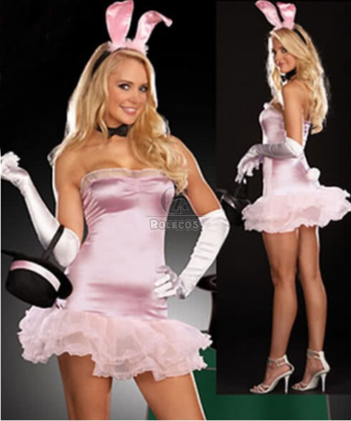 Sexy lady Bunny Girl Halloween Costume Pink Strapless dress with White Gloves