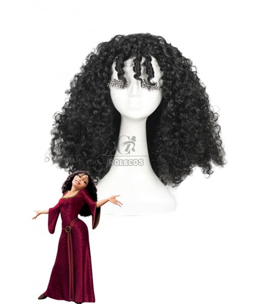 Rapunzel Tangled Mother Gothel Long Black Cosplay Wigs Curly Hairs