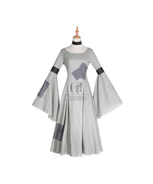 Retro Patched Pagoda Sleeve Long Dress