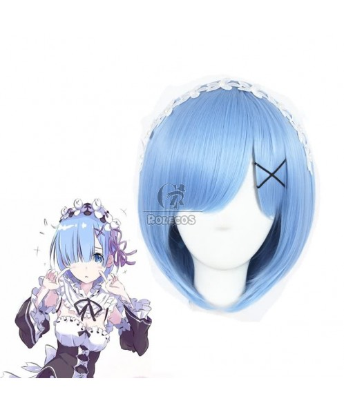 Re:ZERO -Starting Life in Another World Rem Anime Cosplay Wigs Synthetic Wigs Short Light Blue Bob Hair Wigs