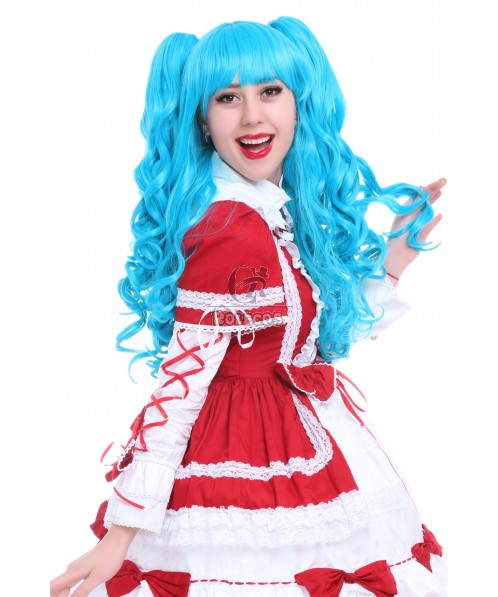 60cm Long Blue Lolita Clip on Ponytails Cosplay Wigs