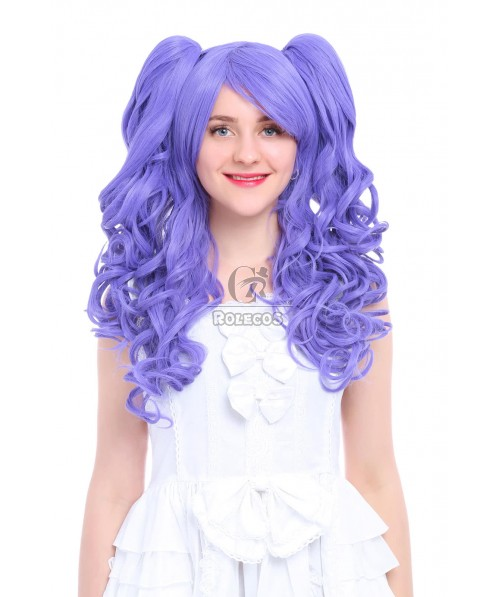 60CM Purple Cosplay Wig Lolita Wave Long Clip-On Ponytail Hair