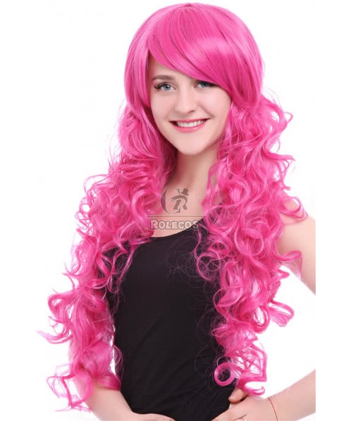 70cm Long Magenta My Little Pony Pinkie Pie Wavy Party Hair Cosplay wigs