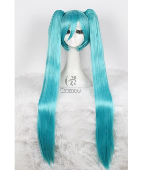100cm New supper long teal cosplay wigs straight hair