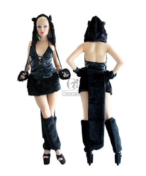 Two Colors sexy Halloween fur animal Costume Fancy Carnival party suit wear