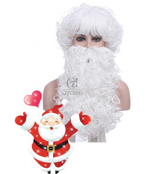 Christmas Santa Claus White Curly Wigs with Beards Unisex Cosplay Wigs