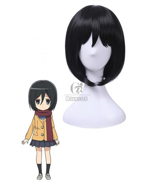 Attack on Titan Mikasa 25cm Short  Black Anime Cosplay Wigs