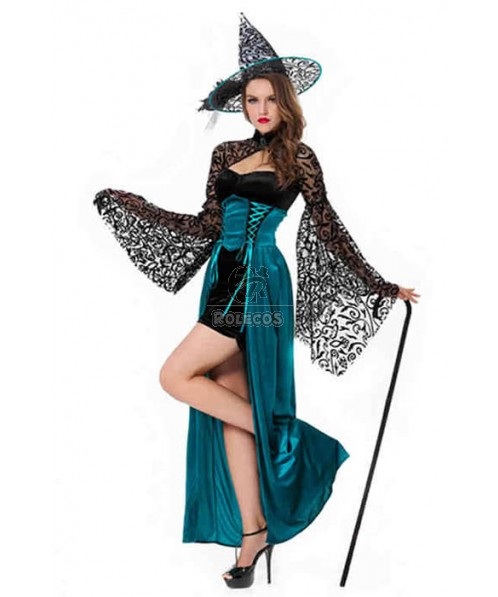 Skintight Long Witch Halloween Cosplay Costume