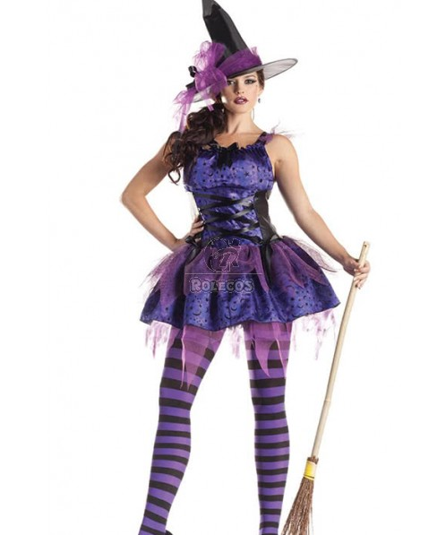 Bright Color Purple Witch Halloween Cosplay Costume Special Design