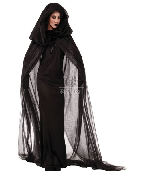 Cool Black Witch Halloween Cosplay  With Black Gloves