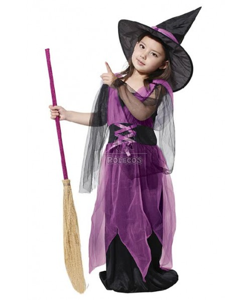 Kids Halloween Party Cosplay Costume Cute Witch