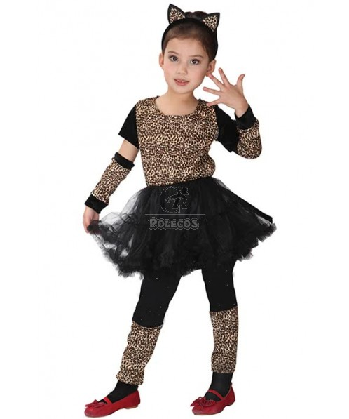 Leopard Print Halloween Party Cosplay Costume For Children