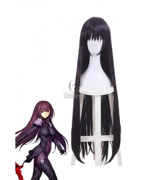 Game Fate Scathach Black Synthetic Long Cosplay Wigs