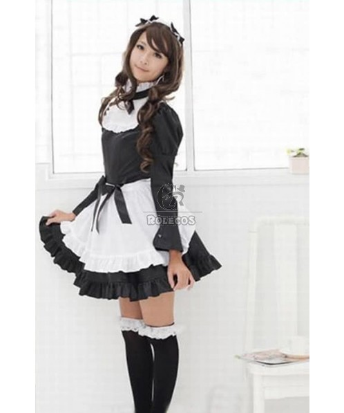 Long Sleeve Black France Maid Costume Maidservant Outfit Princess Auto Show