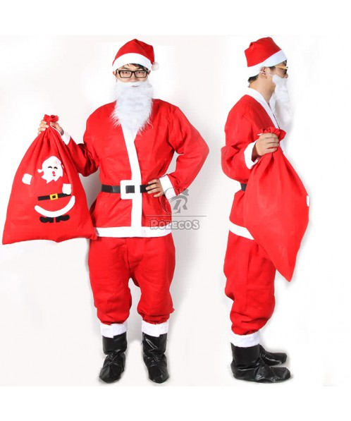 High Quality Pleuche Male Santa Claus Costume with Cool Bag