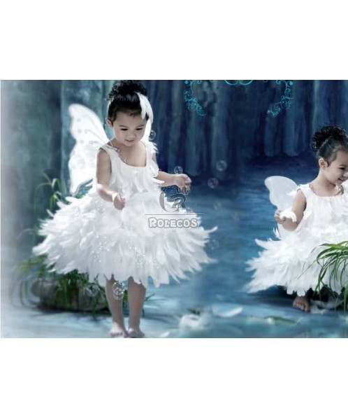 White Children's Christmas Costumes Beautiful Angel Wing Feather Princess Dress