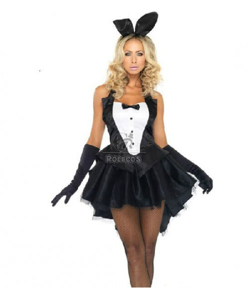 Black Bunny Girl Christmas Costume Party Dress With Cute Headwear