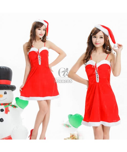 Red Women's Christmas Costume Party Braces Dress with Fur Hat