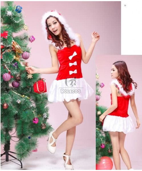 Red Women's Christmas Costume Party Dress with Bow Fur Hooed